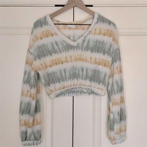 Crop Sweater - Grey & Tan